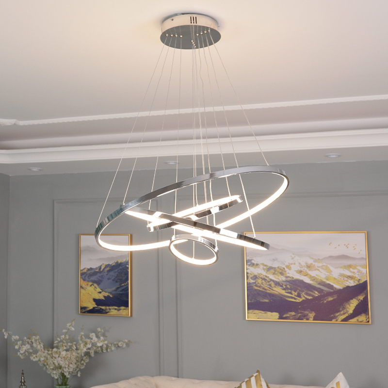 Modern LED chandeliers For Living Room Bedroom Dining Room Chrome plating ring Creative Home chandelier light 2019 newModern LED chandeliers For Living Room Bedroom Dining Room Chrome plating ring Creative Home chandelier light 2019 new