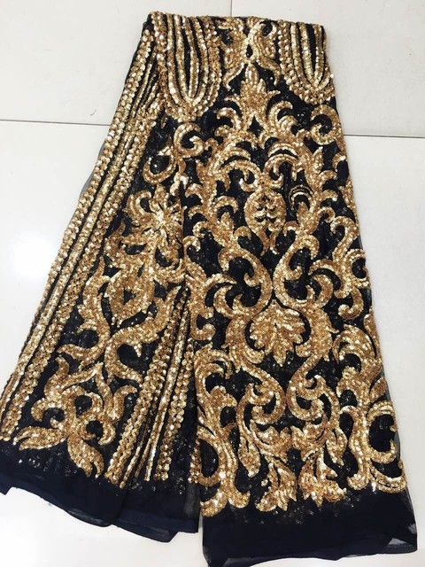 Sequins Nigerian Cord Lace Fabric With 3 D Flowers For Wedding Gold Africa On
