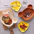 Bebé de La Manera de cerámica Platos Placa vajilla de Bebé Alimentación Infantil Kid Fruit Animales de dibujos animados de Los Niños