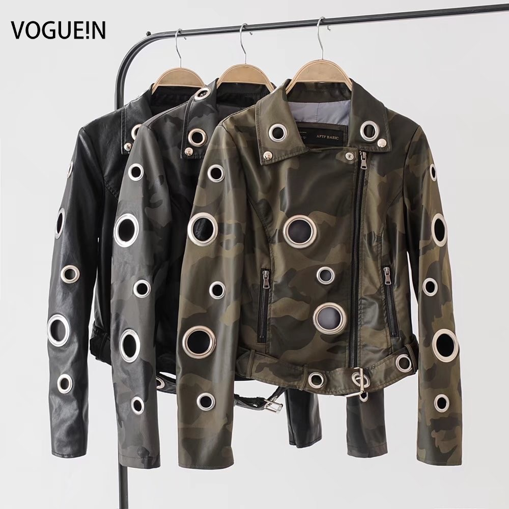VOGUEIN New Womens Camouflage/Black Faux   Leather   Jackets Bomber Motorcycle Coat with Belt 3 Colors Wholesale