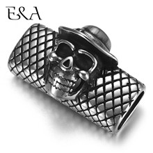 Stainless Steel Slider Beads Skull 12*6mm Hole Slide Charms for Men Leather Bracelet Punk Jewelry Making DIY Supplies