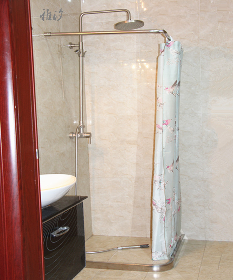 Custom right angle L shaped small curved stainless steel shower rod ...