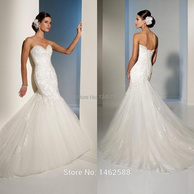 ea3d93d22602 Sexy Sweetheart Bodice Corset White Lace Appliques Mermaid Wedding Gown  Dress Bride 2017 Hot Sale fishtail