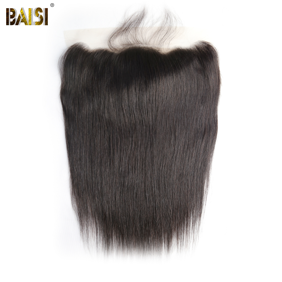 FLASH DEAL BAISI Brazilian Virgin Hair lace Frontal, Straight Frontal size 13*4, Plucked Natural Hairline, 8-14 inch
