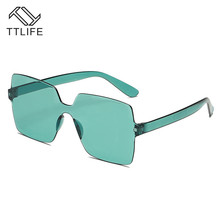 TTLIFE New Square Sunglasses For Women Red Candy Sun Glasses Yellow Jelly  Frame Eyewear Ladies Fashion Gafas De Sol YJHH0193