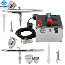 ophir 0 3mm dual action airbrush kit with air compressor gravity paint gun for hobby body paint cake decoration ac088 006 OPHIR 0.3& 0.5mm Dual Action Airbrush Kit with Compressor Airbrushing Gun Gravity Paint for Hobby Model Paint_AC091+AC004A+AC006