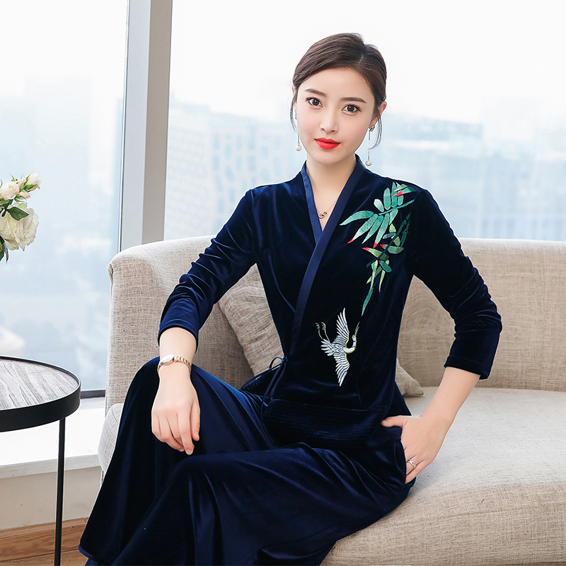 Navy blue 2 piece sets womens outfits velvet top ad pants suits woman emboridery co ord set winter 2019 spring tracksuit clothes in Women 39 s Sets from Women 39 s Clothing