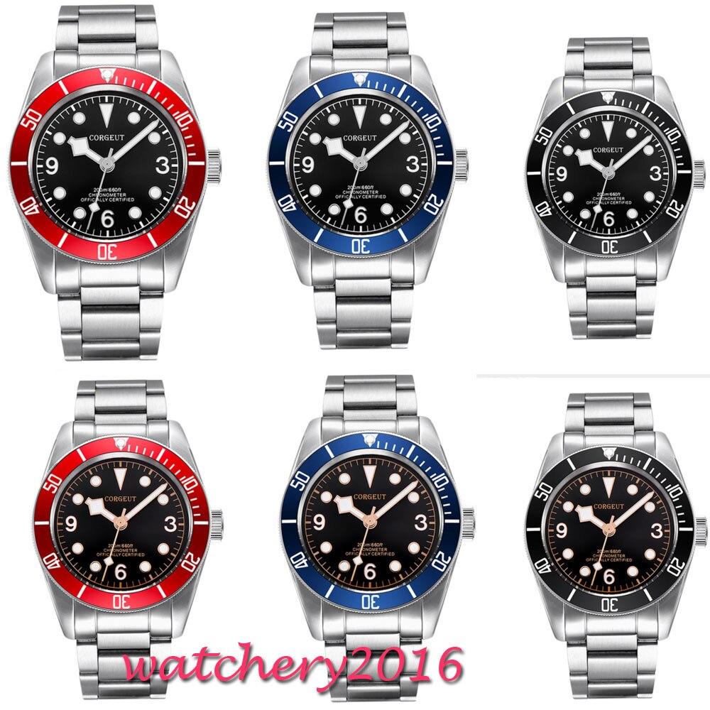 41 มิลลิเมตร Corgeut สีดำ Dial ส่องสว่างเครื่องหมายไพลินแก้วโรแมนติก Sweet Luxury การเคลื่อนไหวอัตโนมัติ Miyota นาฬิกาผู้ชาย-ใน นาฬิกาข้อมือกลไก จาก นาฬิกาข้อมือ บน   1