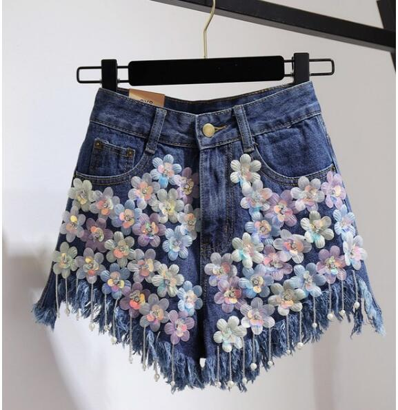 2018 New Fashion Summer Women Rhinestones Flowers Sequins Beaded Jeans  Shorts All match Female Students High Waist Denim Shorts-in Shorts from  Women s ... 9dd9910705ba