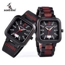 e4386eeecf9b Relogio Masculino BOBO BIRD reloj de madera hombres mujeres cuadrado Dial  Auto fecha cuarzo reloj de madera banda de cuero caja .