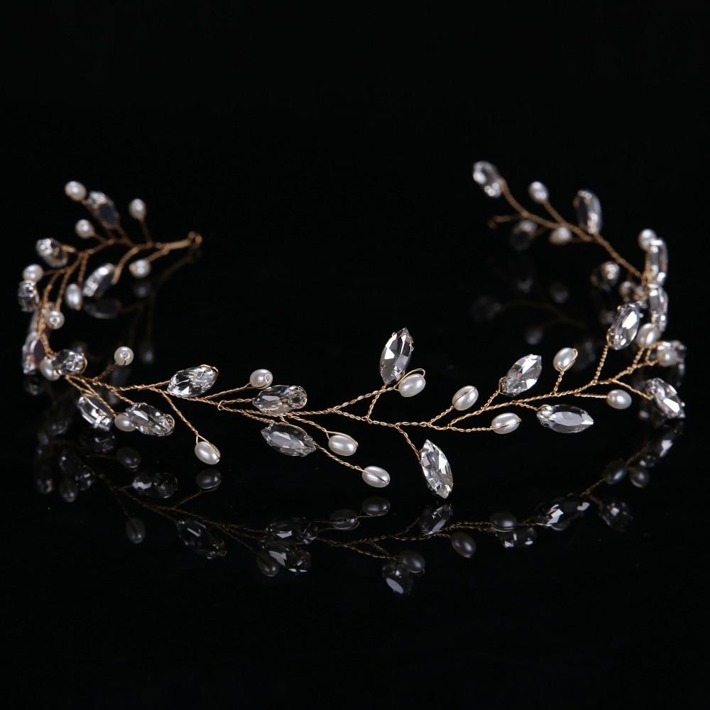 Shiny Crystal Glass Tiara Hairwear simulated Pearl Luxury Jewelry Women font b Accessories b font Bright