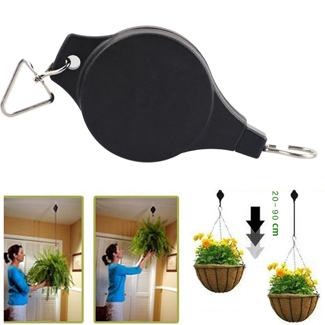 Retractable Pulley Hanging Basket Pull Down Hanger  Garden Baskets Pot hanger load max weight 15kg E5M1