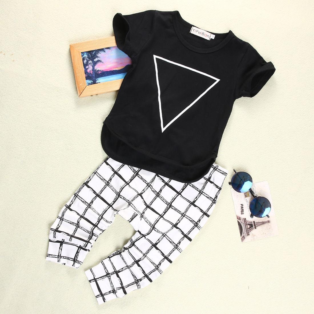 Black t shirt for babies - Toddler Infant Baby Boy Girls Kid Short Sleeve Black T Shirt Tops Checked Pants