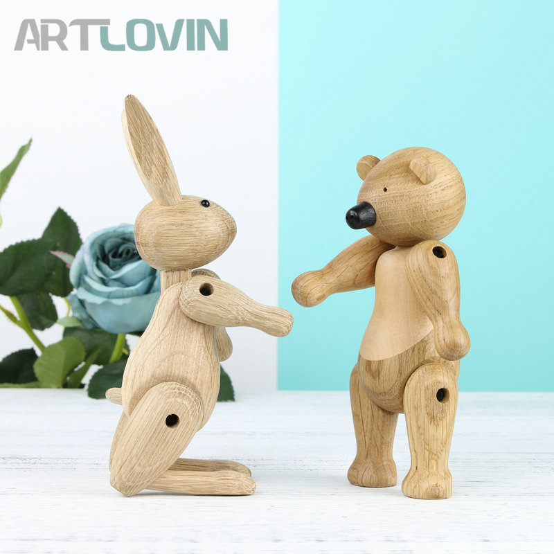 2018 New Arrivals Nordic Denmark Solid Oak Wooden Rabbit Bear Ornament Home Decoration Figurines Mascot Puppet Easter kids Gifts