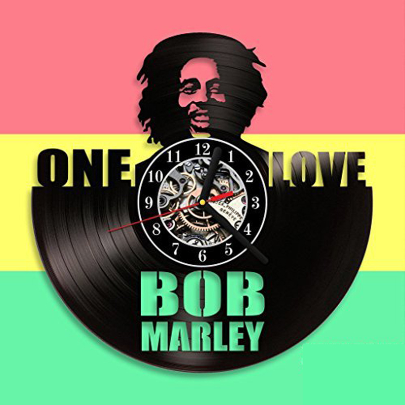 Bob Marley 3D Wall Clock Modern Design For Living Room Classic Vintage Vinyl Record Clock Wall Watch Art Home Decoration 12 Inch