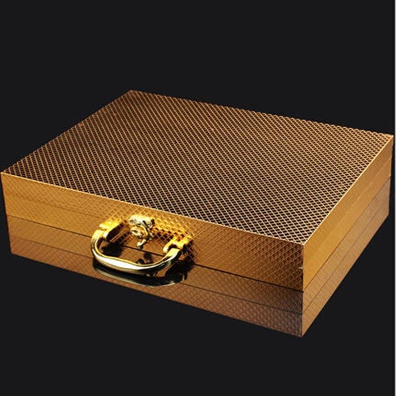 Купить с кэшбэком 24pcs KuBac Hommi Luxury Golden Stainless Steel Steak Knife Fork Set Gold Cutlery Set With Luxury Wood Gift Box Drop Shipping