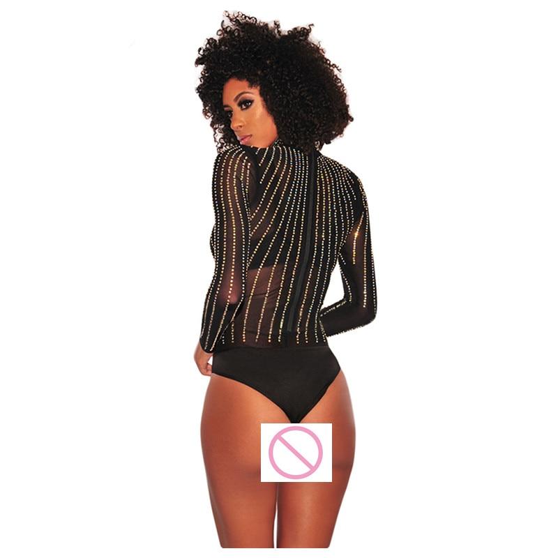 Sexy Black Rhinestone Studded Mock Neck Bodysuit Women Long Sleeve Sheer Mesh Jumpsuits Sexy Club See Through Body Suit