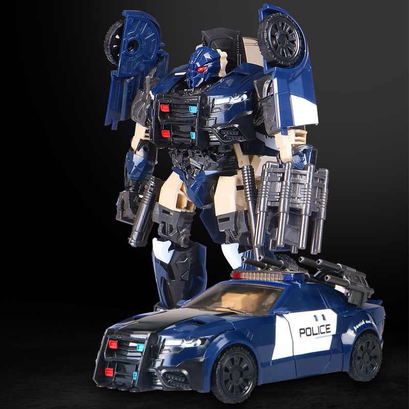 Plastic ABS Legering Transformatie Robot Politie auto Anime Action Figure Model Speelgoed Kerst verjaardagscadeau Voor kinderen jongens meisje