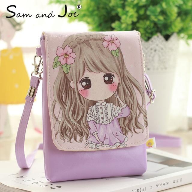2019 New Cartoon Print Women Messenger Bags PU Leather Female Shoulder Bags  Purse and Handbags Girls Children Mini Crossbody Bag 23f02c9e6a320