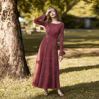 M Queen New Autumn Fashion Ruffles Long Sleeve Velvet Dress for Women High Waist Slim Ultra Long Female Dress Vintage