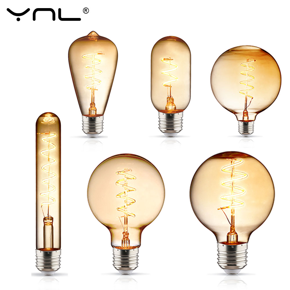 T45 ST64 G80 G95 G125 Spiral Light LED Filament Bulb 220V E27 3-4W Retro Vintage Lamps Decorative Lighting Ampoule Edison Lamp