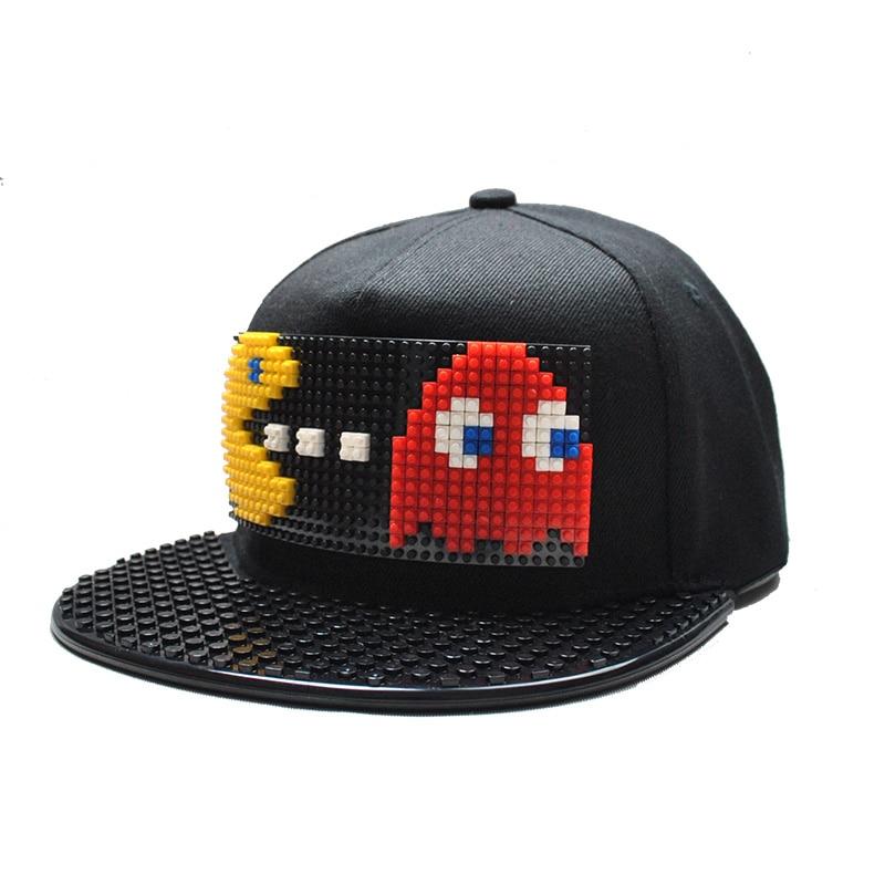 db745329e New PIXELS Movie Pacman Bucket Hat Ghost Patchwork Baseball Cap Blocks DIY  Hat Snapback Hip Hop for Men Women Detachable