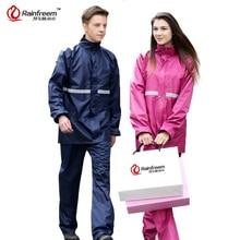 Rainfreem непроницаемой плащ Для женщин/мужской костюм дождевик открытый Для женщин капот мотоцикл плащ отдых Рыбная ловля Защита от дождя пончо