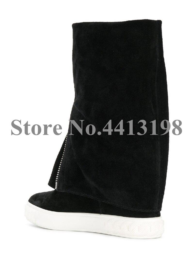 Picture mollet Chaussures Bout Avant Glissière Bottes As Femmes Croissante Cm Rond Hauteur Noir Troupeau Mi Slip Décontracté Concise Plat Pour 8 Sur À qY6B6R