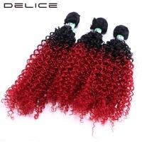DELICE 3 stks/pak 16-20 inch Kinky Krullend Ombre Haar Weven Zwart Rood Synthetische Hair Extensions Inslag Bundels Voor zwarte Vrouwen
