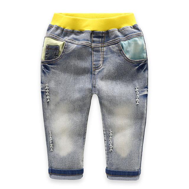 Chicos Vaqueros Niños Sring Otoño Encuadre de cuerpo entero Jeans Pantalones de Algodón de Alta Pantalones Vaqueros de calidad con Elástico de La Cintura De 3 a 7 años de edad