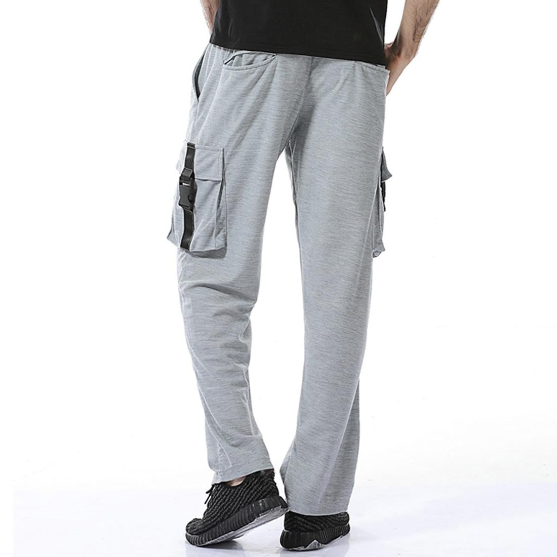 9ec2fb60874 Classical Black White Gray Sweatpants Men Elastic Waist Loose Casual ...