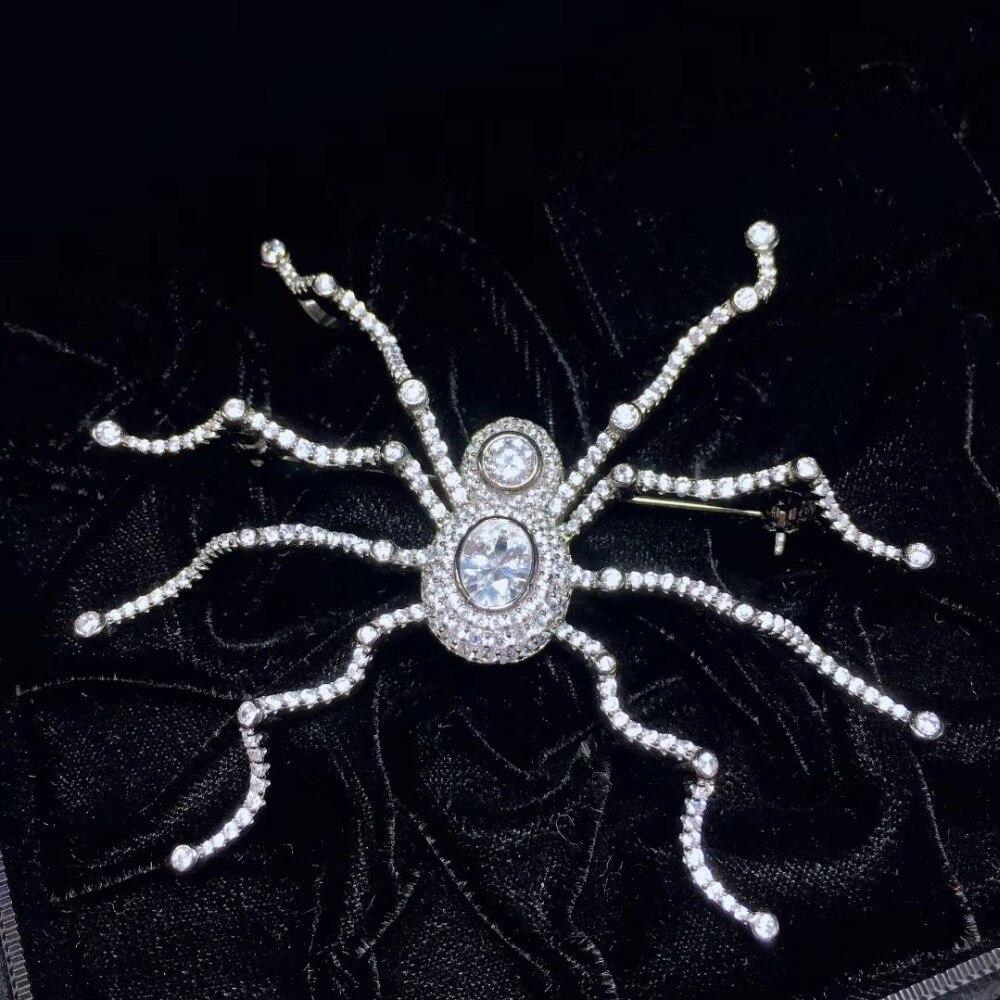 Bijoux unisexe 925 en argent sterling avec zircon cubique grande broche araignée mode hommes et femmes bijoux livraison gratuite 65*77 MM