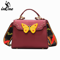 INONE Vegan Leather Butterfly Ladies Designer Shoulder Messenger Crossbody Bags for Women 2019 Solid Color Purses and Handbags