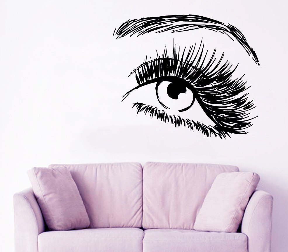 Salon girl art eye wall stickers home modern decor vinyl wall salon girl art eye wall stickers home modern decor vinyl wall murals decal woman eye pattern art decor muursticker w 561 in wall stickers from home garden amipublicfo Images