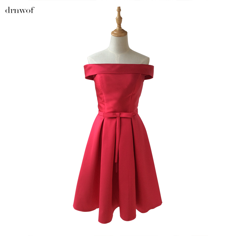 drnwof Cheap New Short Boat Neck Simple Bridesmaid Dresses Ball Gown Sleeveless Wedding Party Dress Color Royal Blue Red Purple