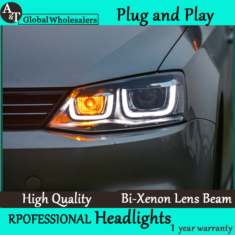Car Styling for VW Jetta Headlights Angel Eye DRL LED Headlight Lens Double Beam H7 HID Xenon bi xenon lens hireno headlamp for 2013 2015 nissan tiida headlight assembly led drl angel lens double beam hid xenon 2pcs