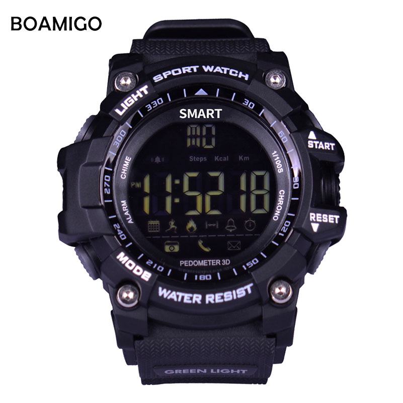 все цены на smart watches men sport wristband BOAMIGO digital watches pedometer calories call message reminder bluetooth waterproof clcok