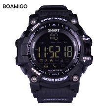 Relojes inteligentes hombres de pulsera deporte BOAMIGO digital relojes podómetro calorías llamada mensaje recordatorio bluetooth impermeable clcok