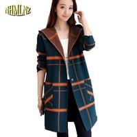 2019 Autumn Long Sweater Coat Women Long sleeve Hooded Plaid Sweater Slim Cardigan Sweater Female Elegant Casual Knit DAN196