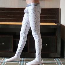 New mens  underwear legging solid color long johns slim line pants low-waist male pantyhose tights warm bottem Free shipping