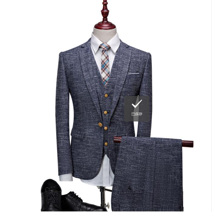 (Jacket+Vest+Pants)2019 Men's Suits British Style High Quality Single Button Wedding Suits Men's Fashion Wool Suit Men Blazer