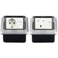 EU Standard Pop Up Floor Socket Aluminum Panel German/UK Type Power Electrical Outlet With RJ45 Internet Computer Port 13A/16A