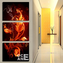 flame flower triptych diamond embroidery adornment square drill diy painting crystal full kits D290