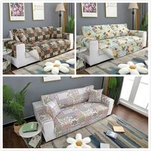 Flower Design Print Anti Slip Quilted Sofa Cover Throw Pet Dog Kids Mat Furniture Washable Removable Protector 1/2/3 Seat L603