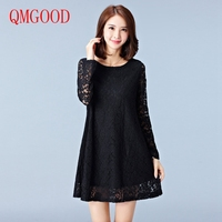 QMGOOD Autumn Large Size Lace Dress Long Sleeves Women Solid Color A Dress Black White Hollow