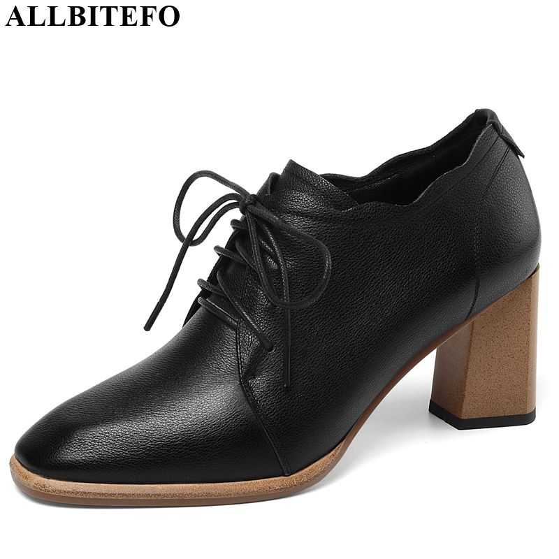 ALLBITEFO Hot Sale Genuine Leather High Thick Heel Shoes Sexy Ladies Women Heels Lace Up Spring Autumn Charming Girl High Heels