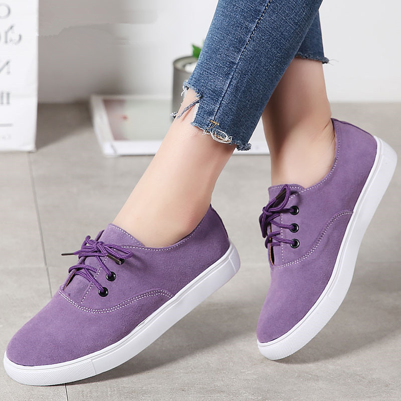 MIUBU Autumn Flats Shoes Women Sneakers High Qulaity Leather Suede Lace-up Casual Shoes Woman Ballet Flats zapatillas mujer