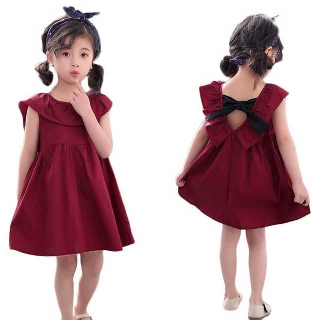 Mùa hè bé gái Đầm thiết kế năm 2018 cô gái trẻ em quần áo phong cách Âu Mỹ hoa trẻ em bé gái ngắn tay áo