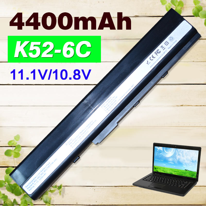 4400mAh 11.1V laptop battery for Asus A32-K52 A31-K52 K52F A52F A52J K52 K52D K52JC K52JE X52JC X52JE X52JG X52F X52J K52J original for asus laptop heatsink cooling fan cpu cooler k52 k52j k52jr a52j a52j x52j cpu heatsink