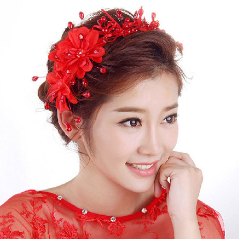 white red lace flower frontlet